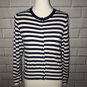 Banana Republic M Striped Cardigan Navy White